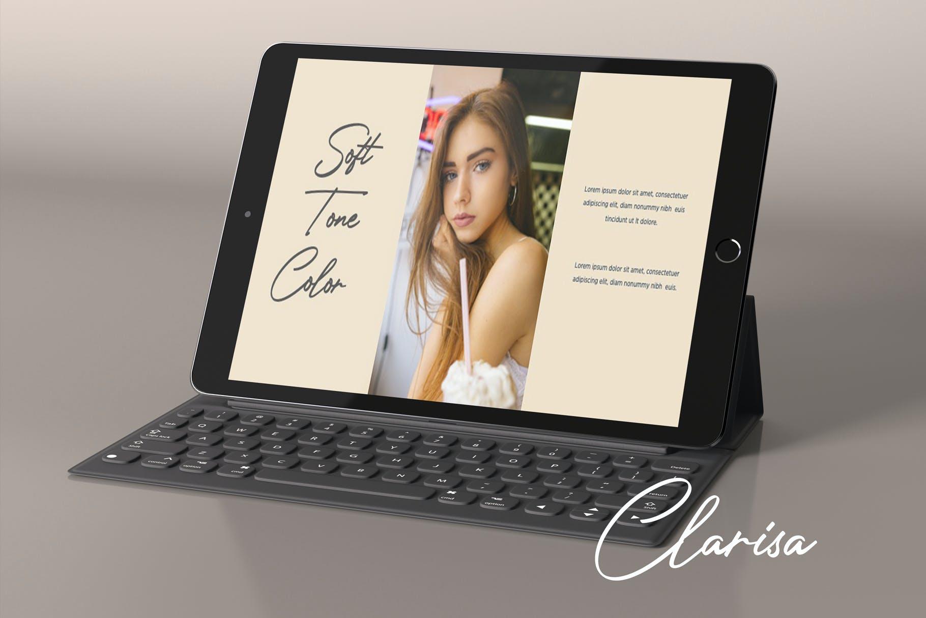 时尚优雅摄影作品集演示幻灯片设计模板 Clarisa Bundle Presentation插图7