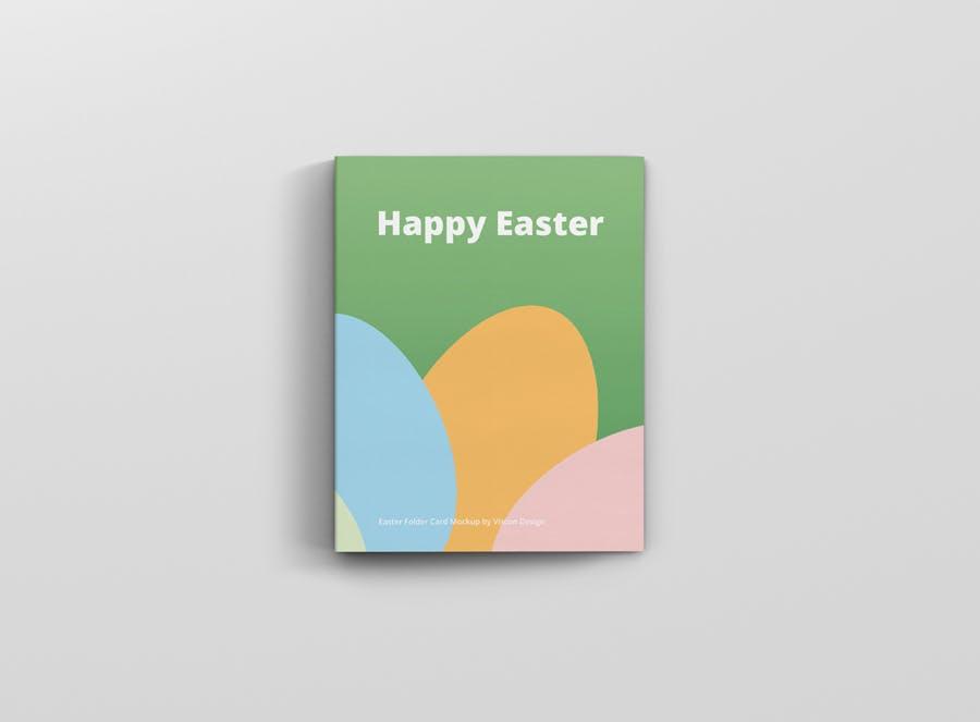 时尚带巧克力文件夹卡片设计样机素材 Easter Folder Card Mockup插图7