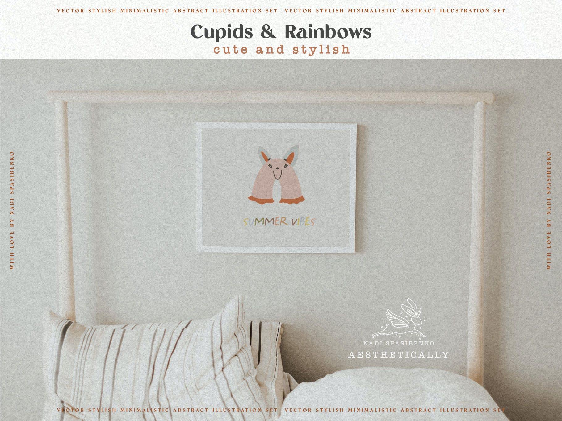时尚抽象可爱卡通彩虹丘比特元素手绘插画矢量设计素材 Cupids & Cute Rainbows插图7