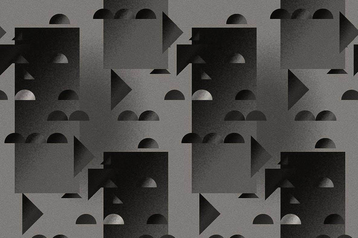 现代暗黑噪点颗粒渐变几何图形无缝隙背景图设计素材 Cubic Dark Patterns插图7
