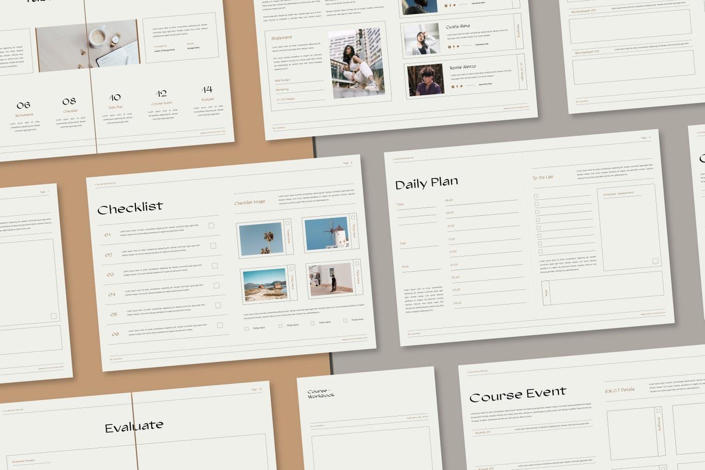 16页课程工作簿手册设计INDD模板素材 The Course Workbook  Minimal插图7