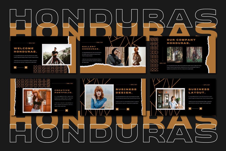 潮流撕纸效果品牌营销设计提案简报演示文稿模板素材 HONDURAS Bundle Presentation Template插图7