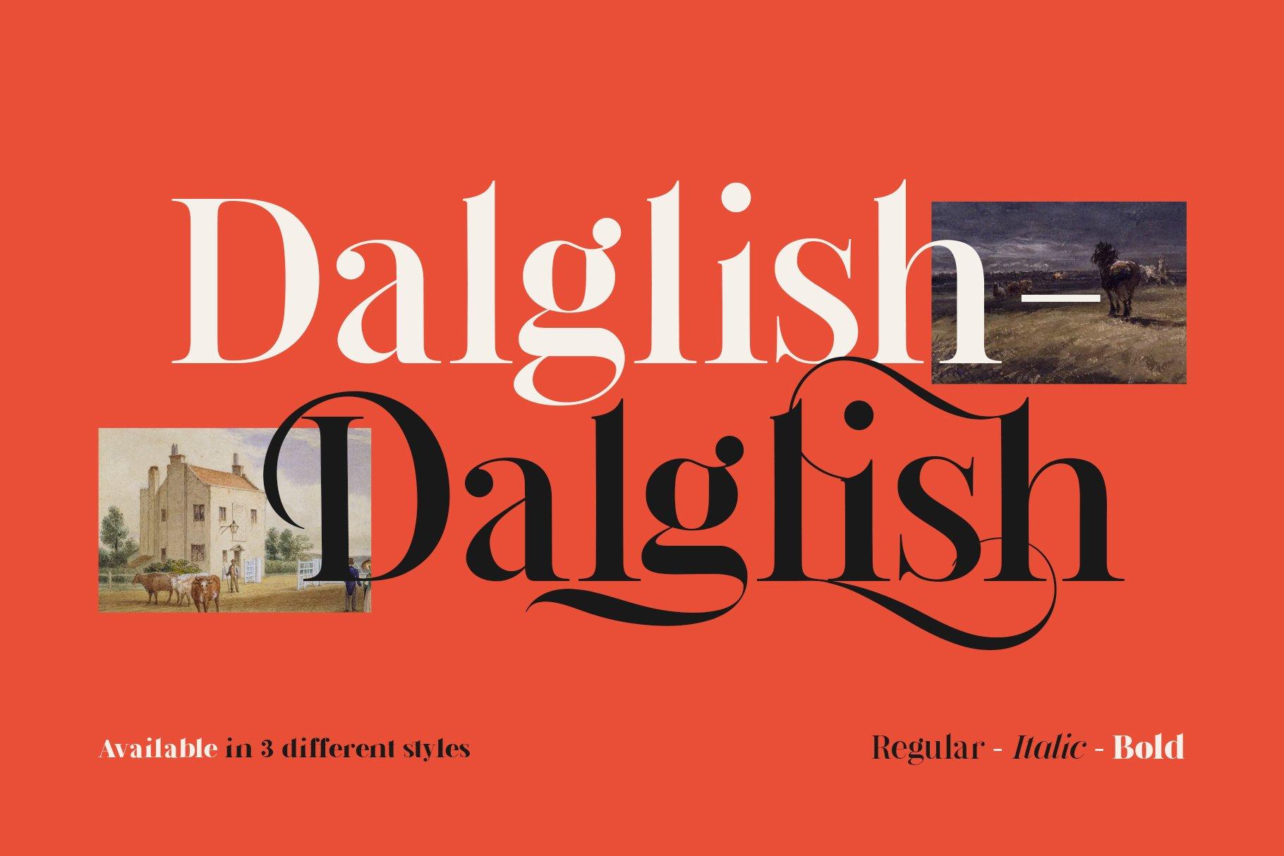 现代复古杂志海报标题徽标Logo设计衬线英文字体素材 Dalglish Typeface插图1