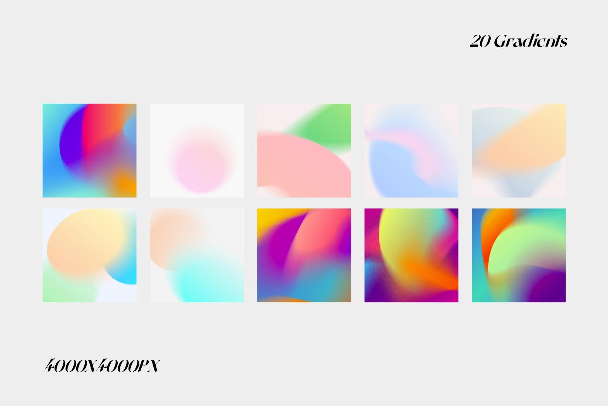 [单独购买] 潮流复古炫彩颗粒噪点模糊渐变背景纹理图形设计素材 Gradient Color Grainy Textures插图7