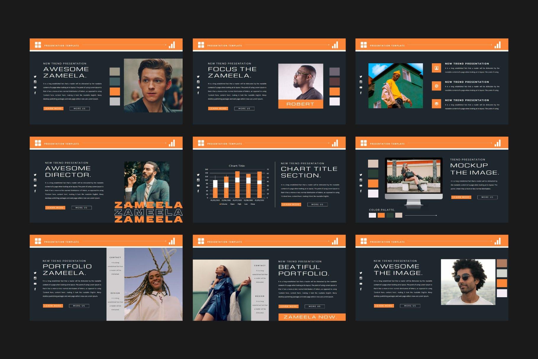 潮流品牌服装摄影作品集演示文稿设计模板 ZAMEELA Powerpoint Template插图8