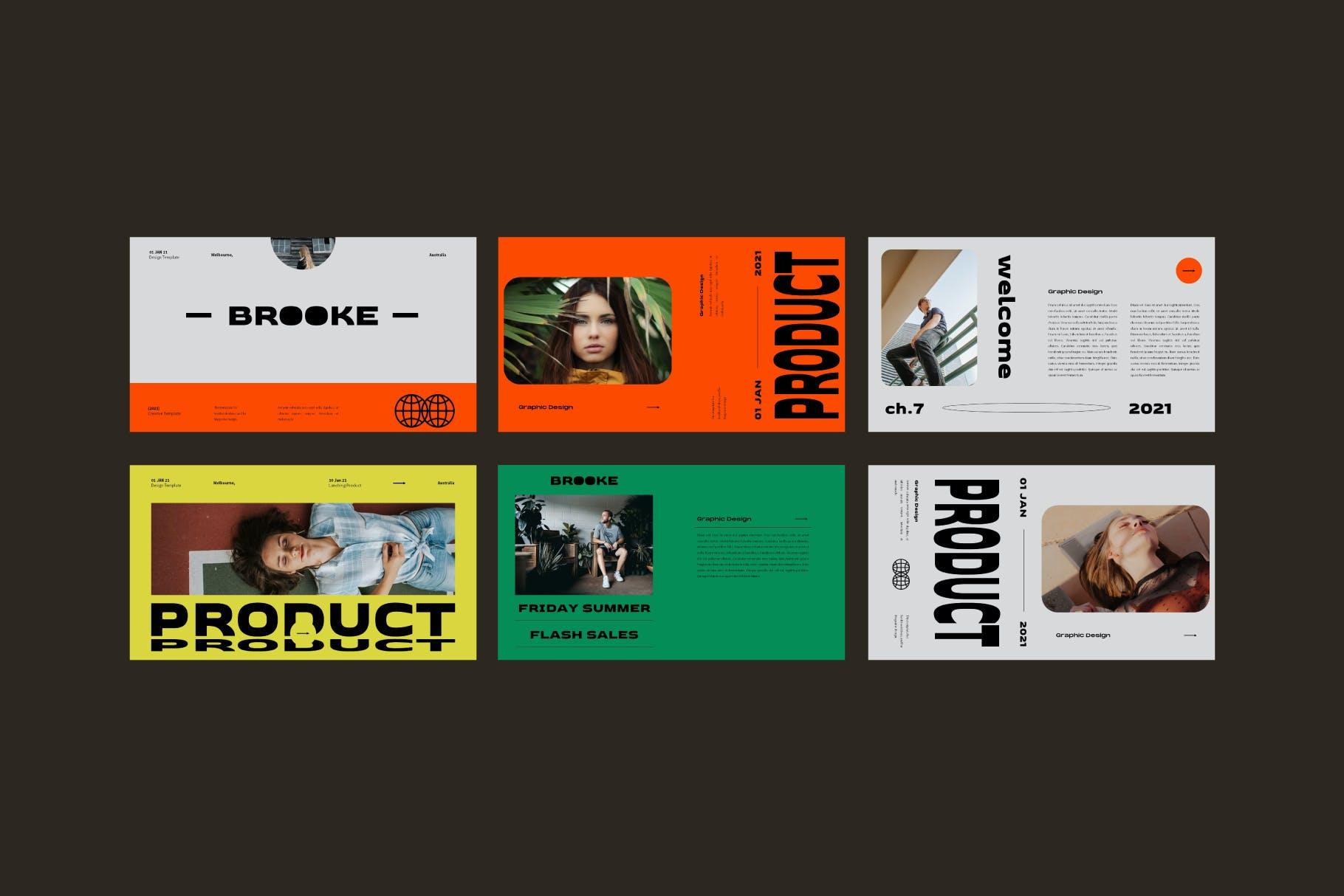 时尚潮流品牌策划案提案简报设计演示文稿模板 Brooke Powerpoint Template插图8