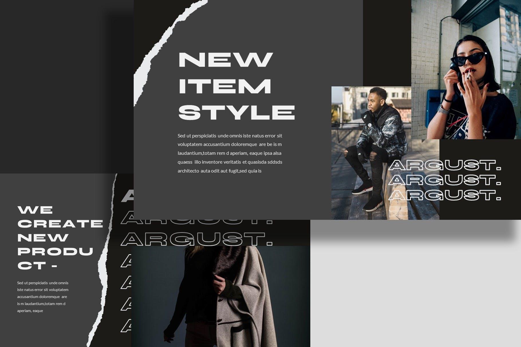 潮流撕纸效果品牌策划提案简报演示文稿设计模板 Argust Powerpoint Template插图8