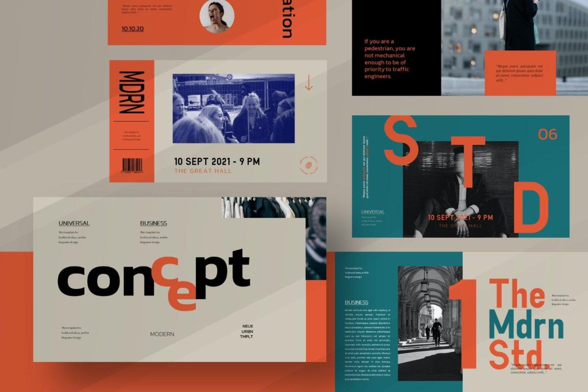 时尚潮流服装摄影作品集演示文稿设计PPT模板 Modern Line Powerpoint Template插图8