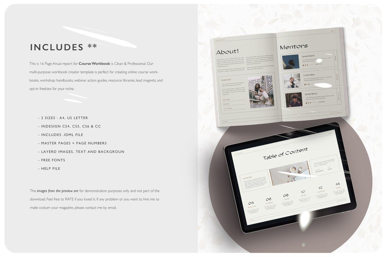 16页课程工作簿手册设计INDD模板素材 The Course Workbook  Minimal插图8
