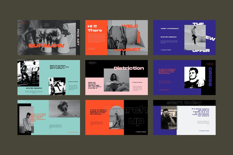 时尚摄影作品集幻灯片设计PPT模板素材 Bufalow Powerpoint Template插图8