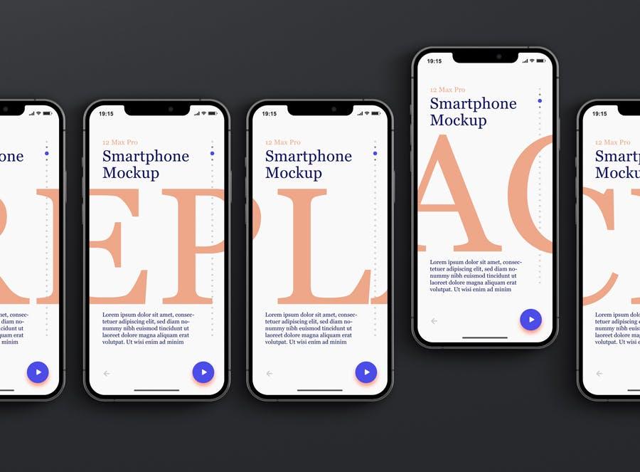 时尚APP界面设计iPhone 12 Pro Max手机屏幕演示样机 Phone 12 Pro Max Mockup插图8