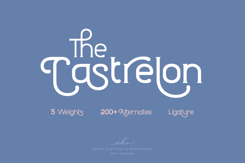 时尚圆润标题品牌Logo设计衬线英文字体素材 Castrelon Font插图