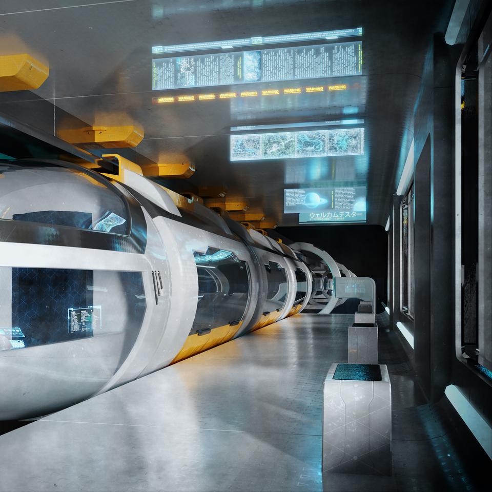 未来科幻城市高速单轨火车快轨车站轨道控制台建筑3D模型素材 Kitbash3D – Props: High Tech Streets插图2