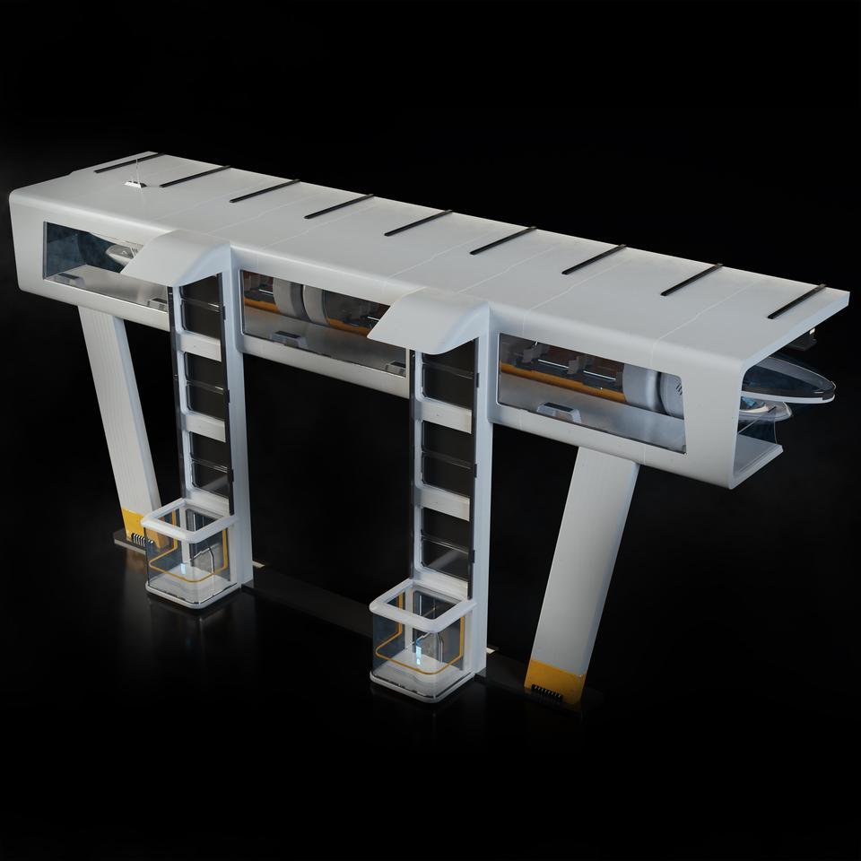 未来科幻城市高速单轨火车快轨车站轨道控制台建筑3D模型素材 Kitbash3D – Props: High Tech Streets插图3