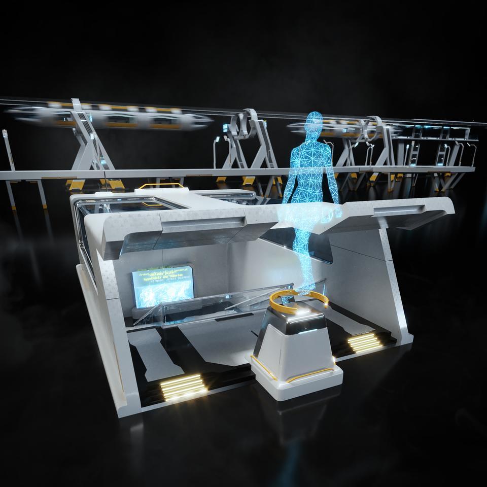 未来科幻城市高速单轨火车快轨车站轨道控制台建筑3D模型素材 Kitbash3D – Props: High Tech Streets插图4