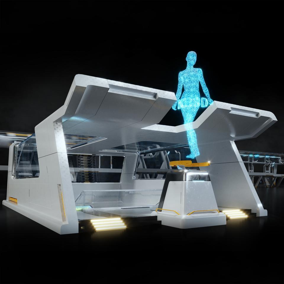 未来科幻城市高速单轨火车快轨车站轨道控制台建筑3D模型素材 Kitbash3D – Props: High Tech Streets插图5