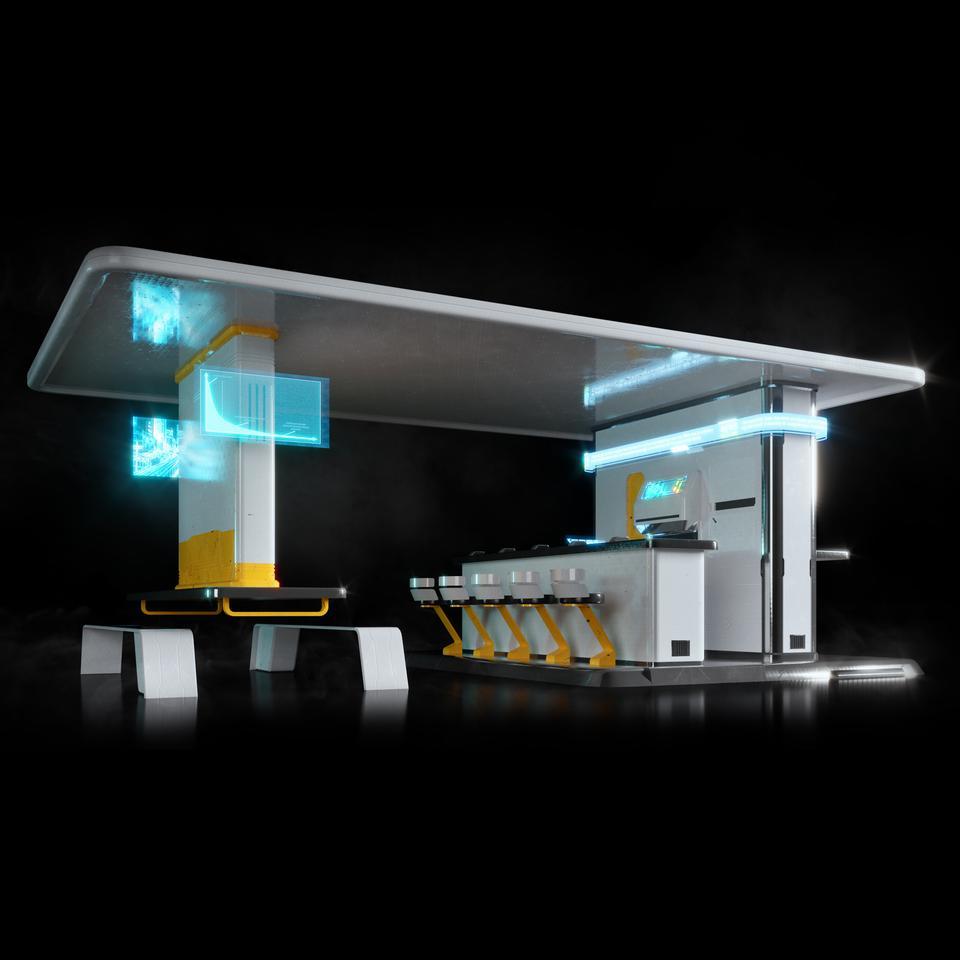 未来科幻城市高速单轨火车快轨车站轨道控制台建筑3D模型素材 Kitbash3D – Props: High Tech Streets插图11