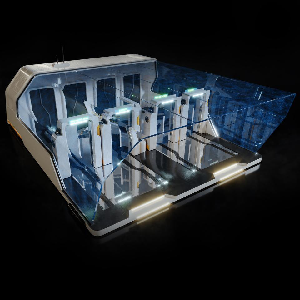 未来科幻城市高速单轨火车快轨车站轨道控制台建筑3D模型素材 Kitbash3D – Props: High Tech Streets插图13