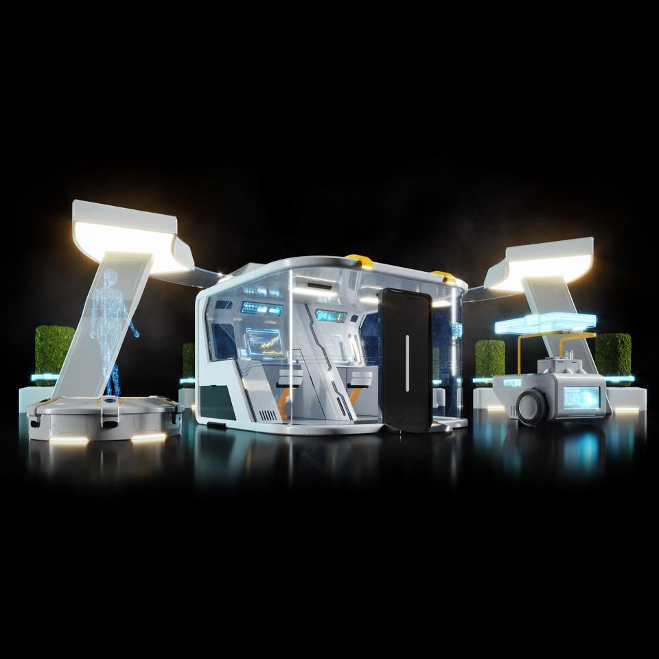 未来科幻城市高速单轨火车快轨车站轨道控制台建筑3D模型素材 Kitbash3D – Props: High Tech Streets插图16
