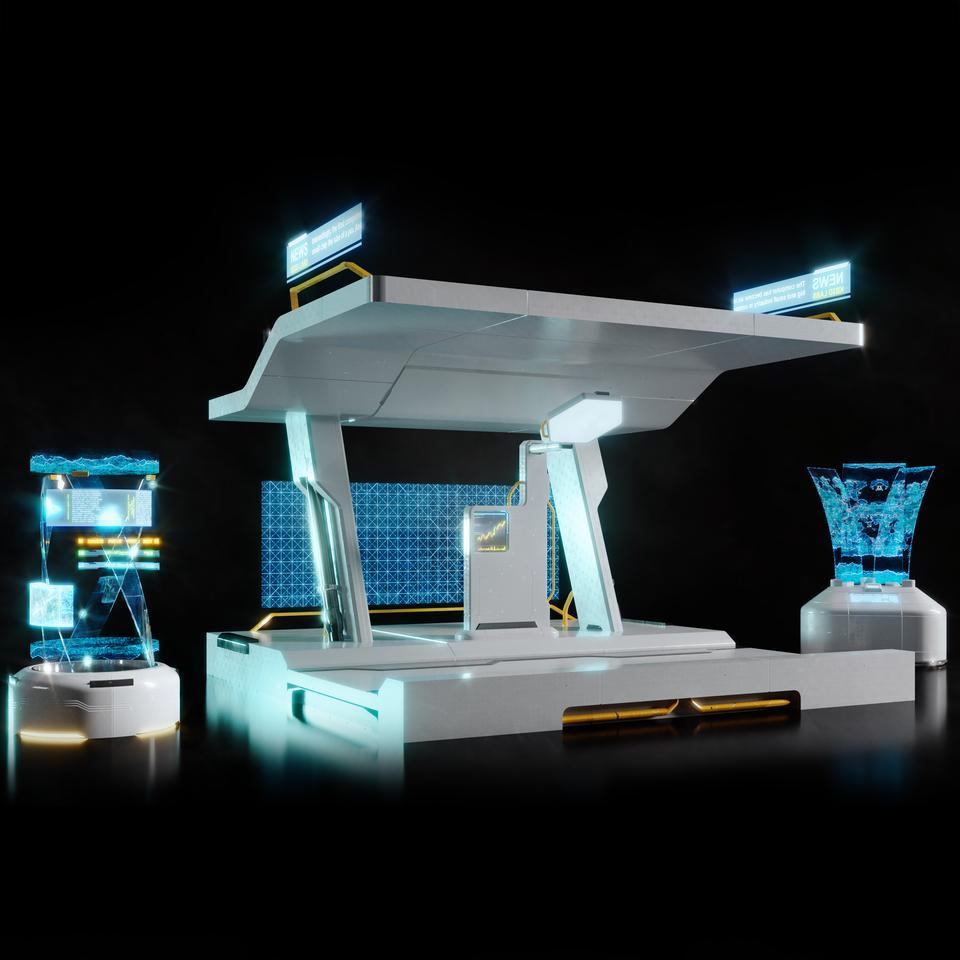 未来科幻城市高速单轨火车快轨车站轨道控制台建筑3D模型素材 Kitbash3D – Props: High Tech Streets插图18
