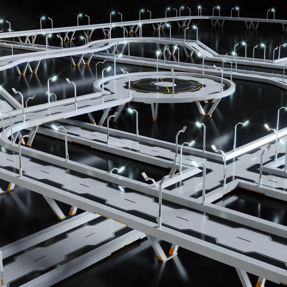 未来科幻城市高速单轨火车快轨车站轨道控制台建筑3D模型素材 Kitbash3D – Props: High Tech Streets插图23