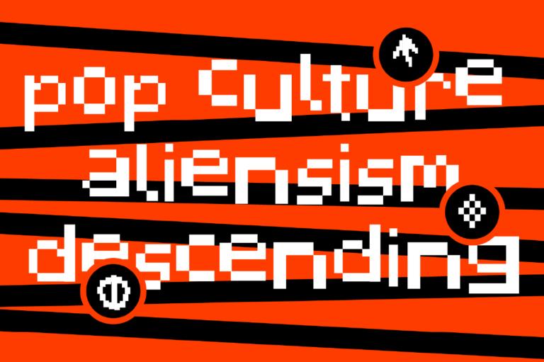潮流复古像素几何杂志海报标题Logo英文字体设计素材 Pixelated Display Font插图4