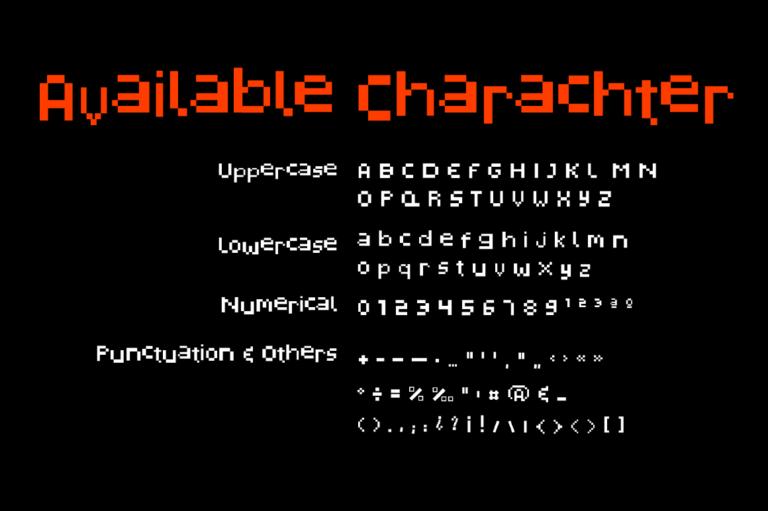 潮流复古像素几何杂志海报标题Logo英文字体设计素材 Pixelated Display Font插图6