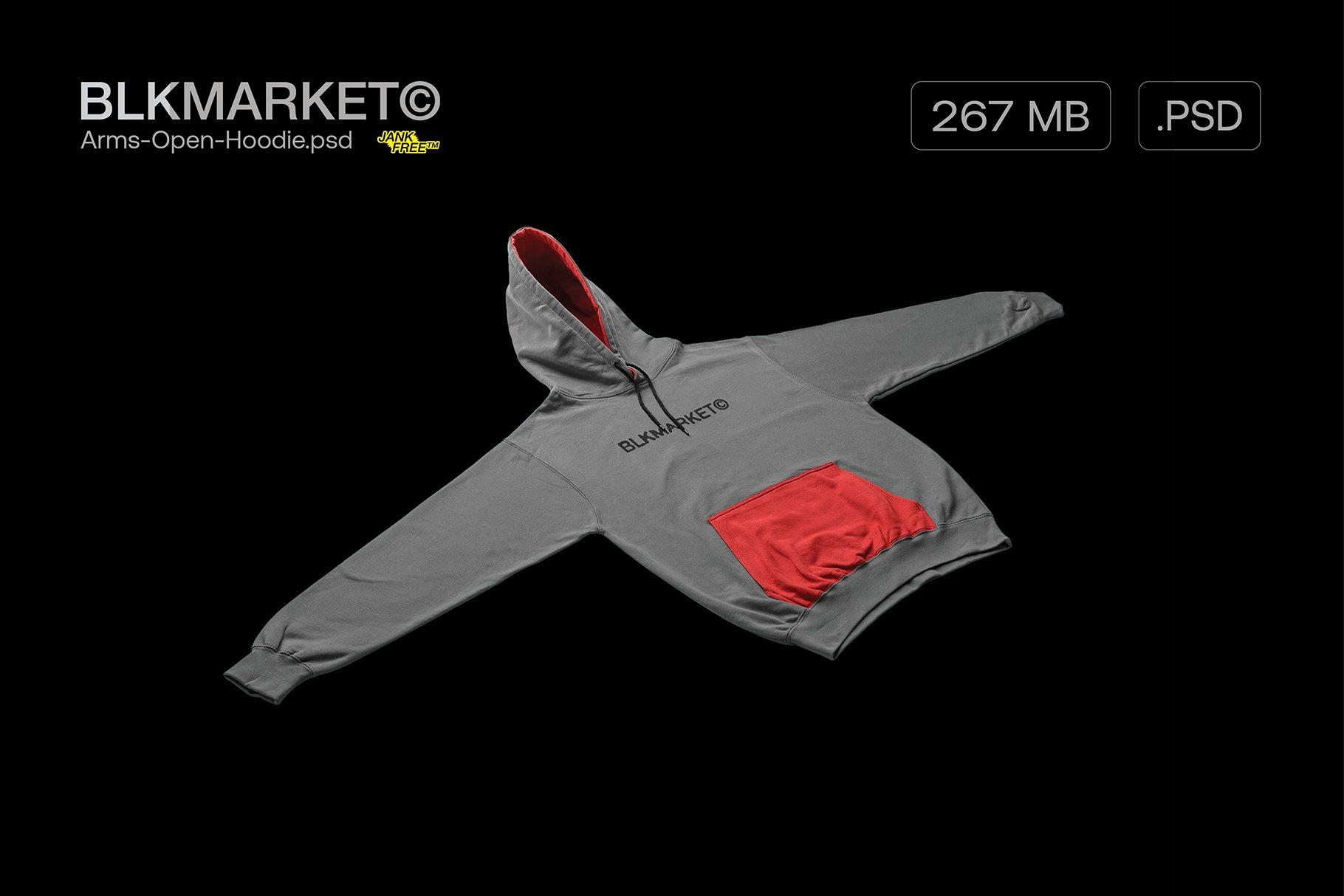潮流街头潮牌帽衫卫衣图案印花设计PS贴图样机素材 Blkmarket – Angled-Hoodie.psd – Streetwear插图
