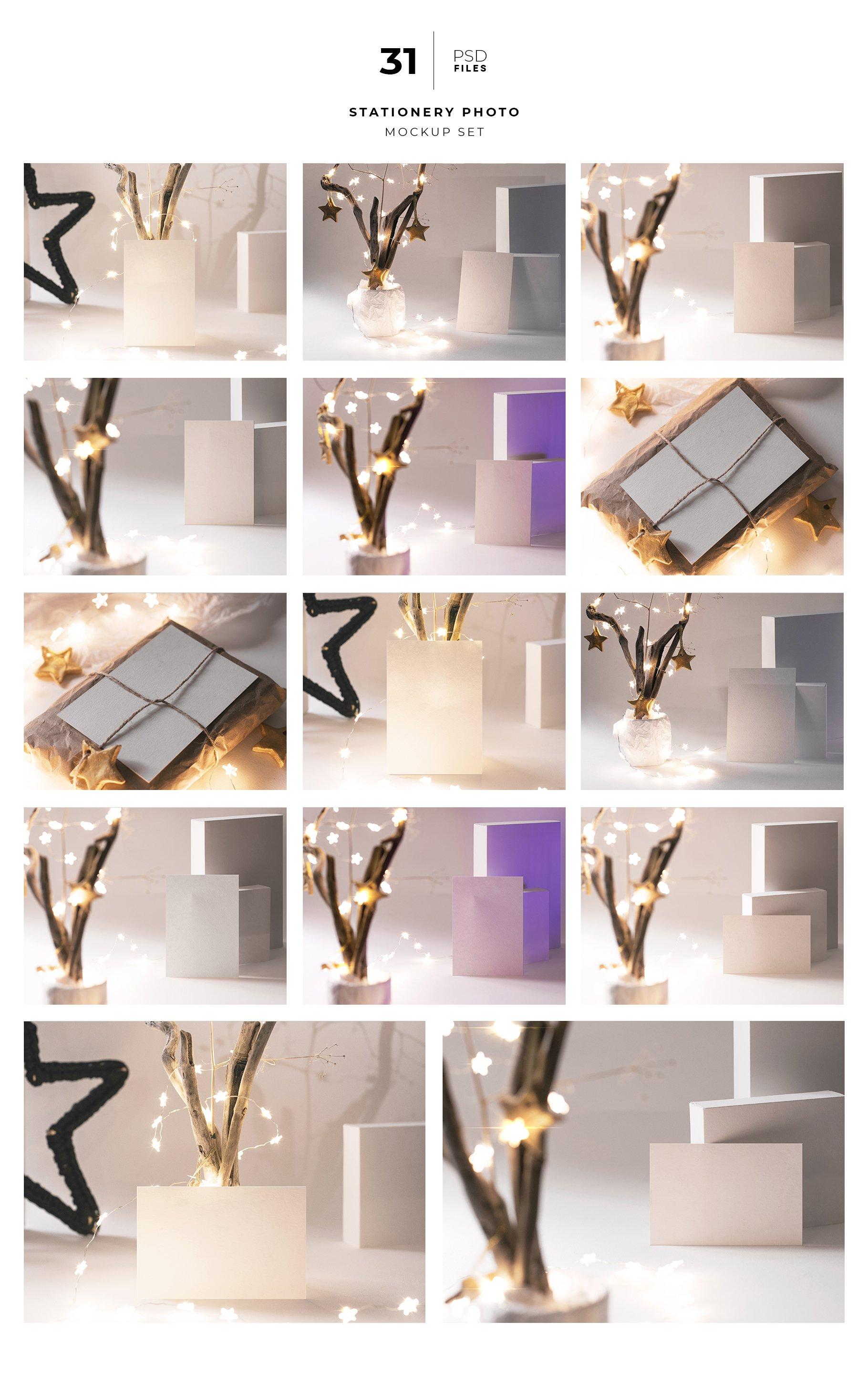 31款圣诞节主题礼品卡标签办公用品样机合集 Christmas Stationery Mockup Set插图1