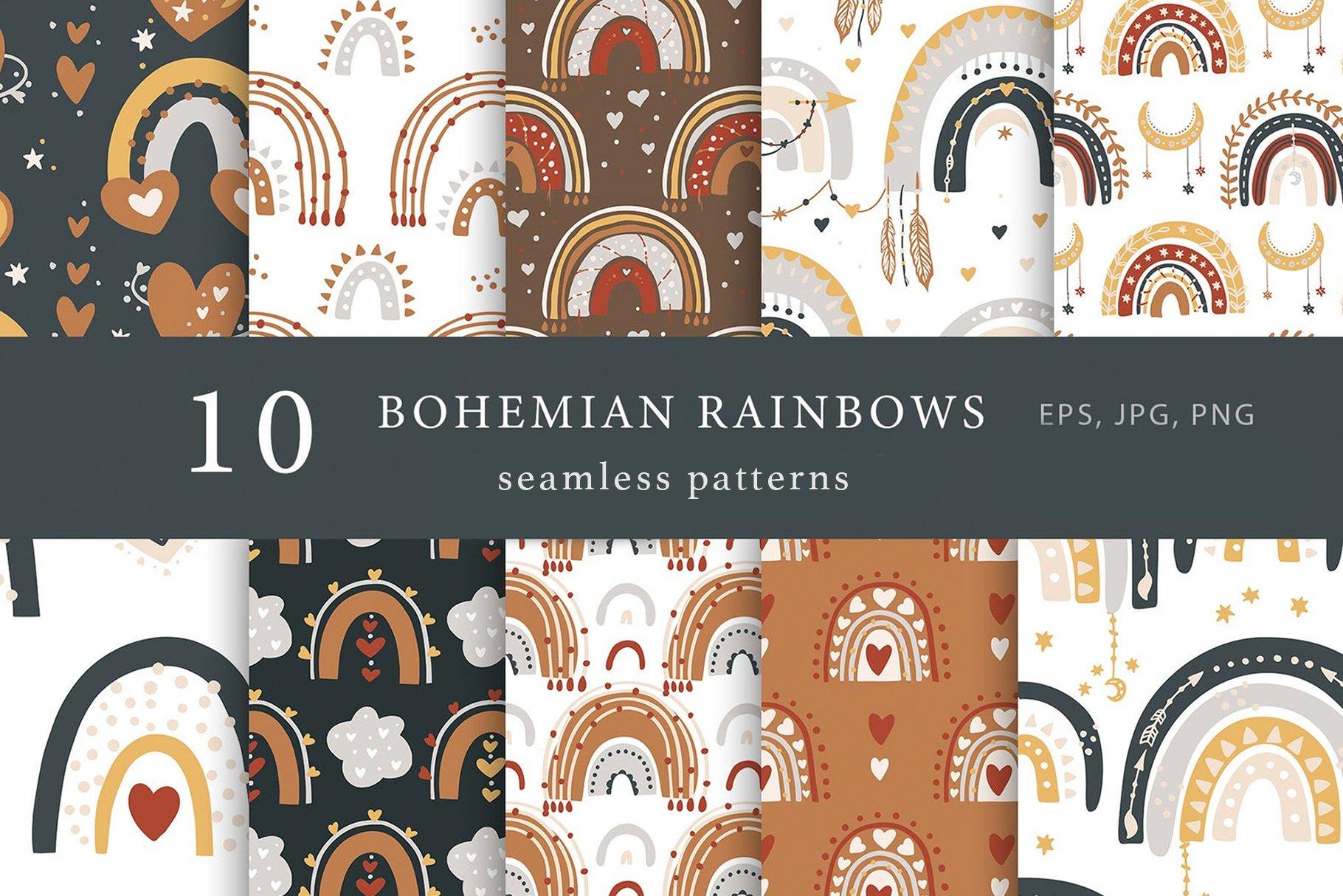 103款波西米亚风动物花卉月亮天体彩虹女孩手绘插画无缝隙图案矢量素材 Seamless Boho Pattern Bundle插图3