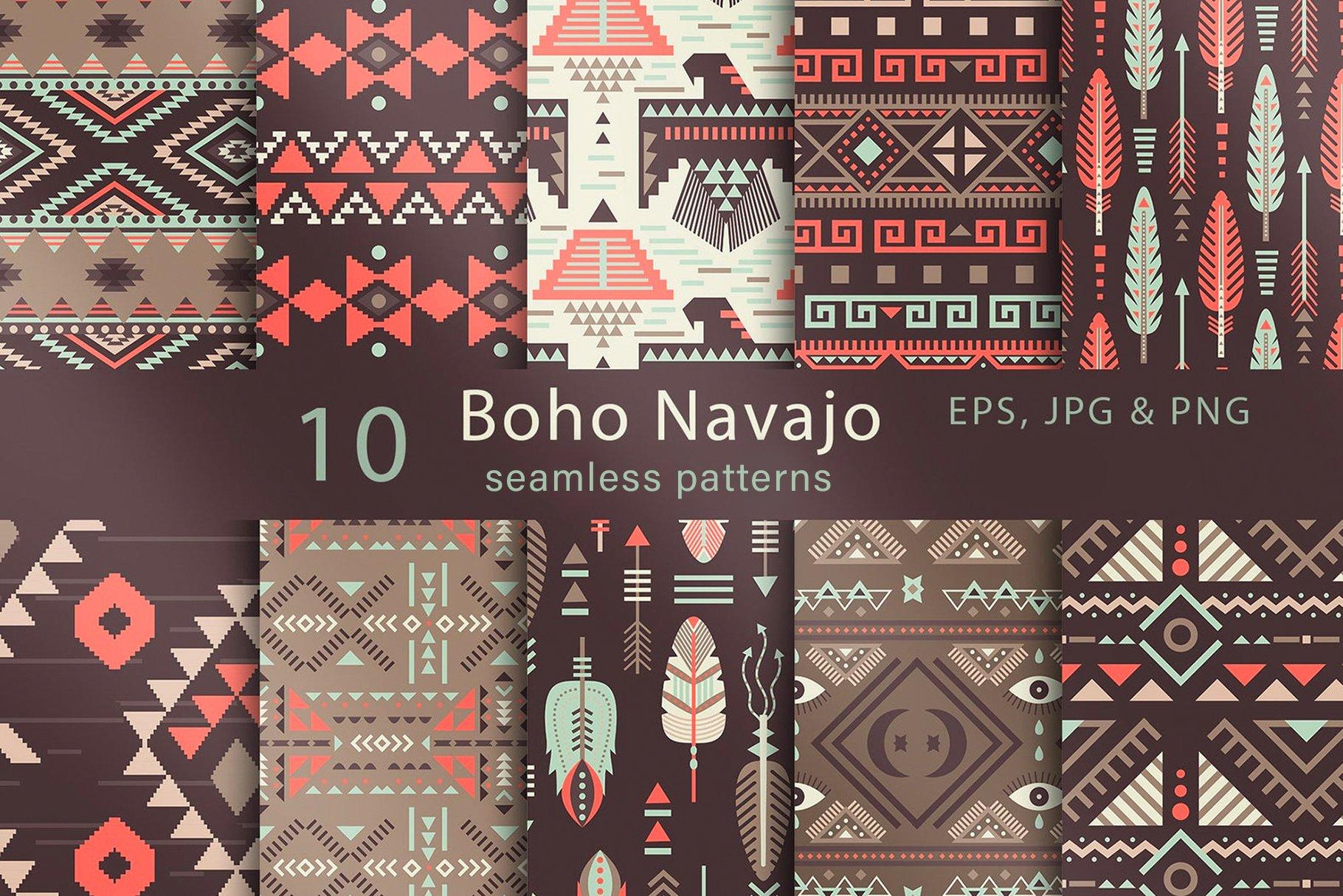 103款波西米亚风动物花卉月亮天体彩虹女孩手绘插画无缝隙图案矢量素材 Seamless Boho Pattern Bundle插图5