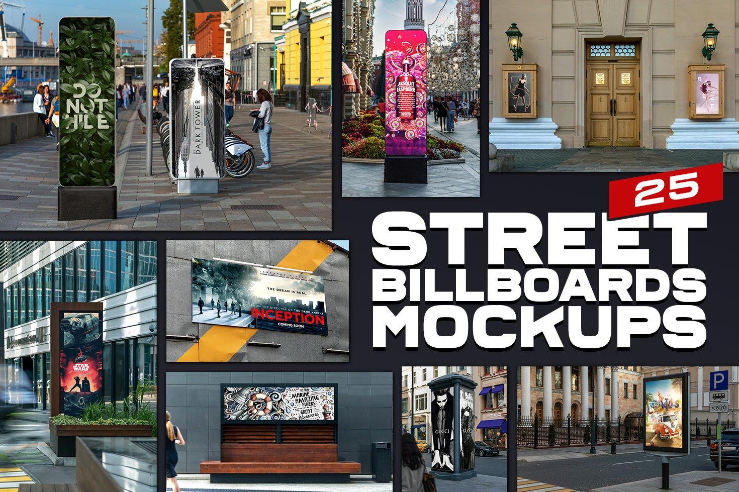 25款城市街头灯箱海报广告牌设计展示贴图样机模板 25 Street Billboards Mockups插图