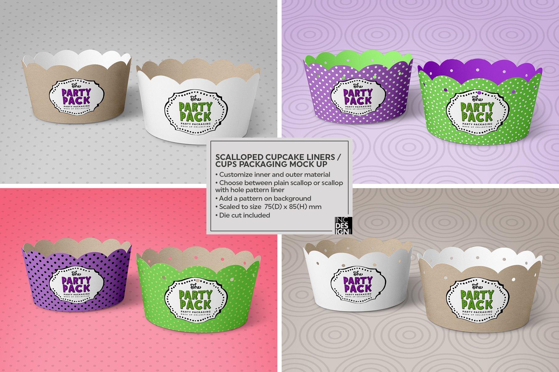 纸杯蛋糕杯包装设计PS贴图样机 Cupcake Cups Packaging Mockup插图2