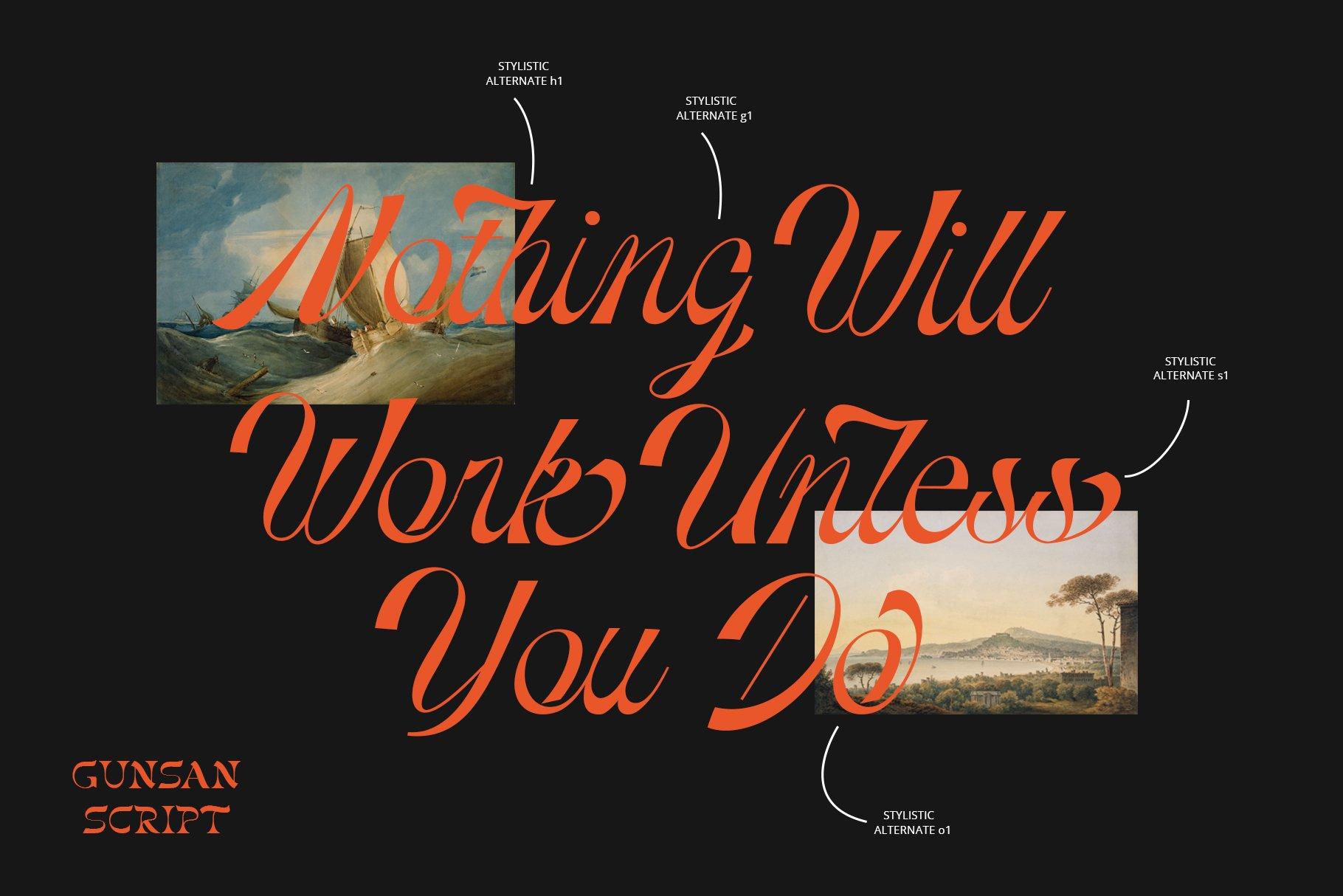 [单独购买] 潮流复古酸性艺术海报杂志Logo标题英文字体设计素材 Gunsan Font Duo插图12