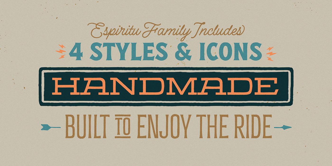 时尚复古海报标题徽标Logo设计英文字体下载 Espiritu Font Family插图16
