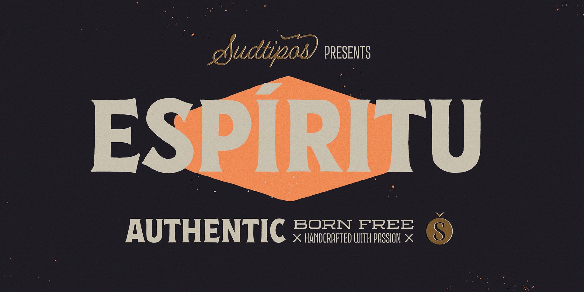 时尚复古海报标题徽标Logo设计英文字体下载 Espiritu Font Family插图