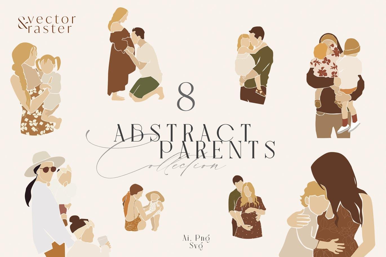 8款抽象可爱家庭场景手绘剪贴画AI矢量设计素材 Abstract Family Clipart Set插图