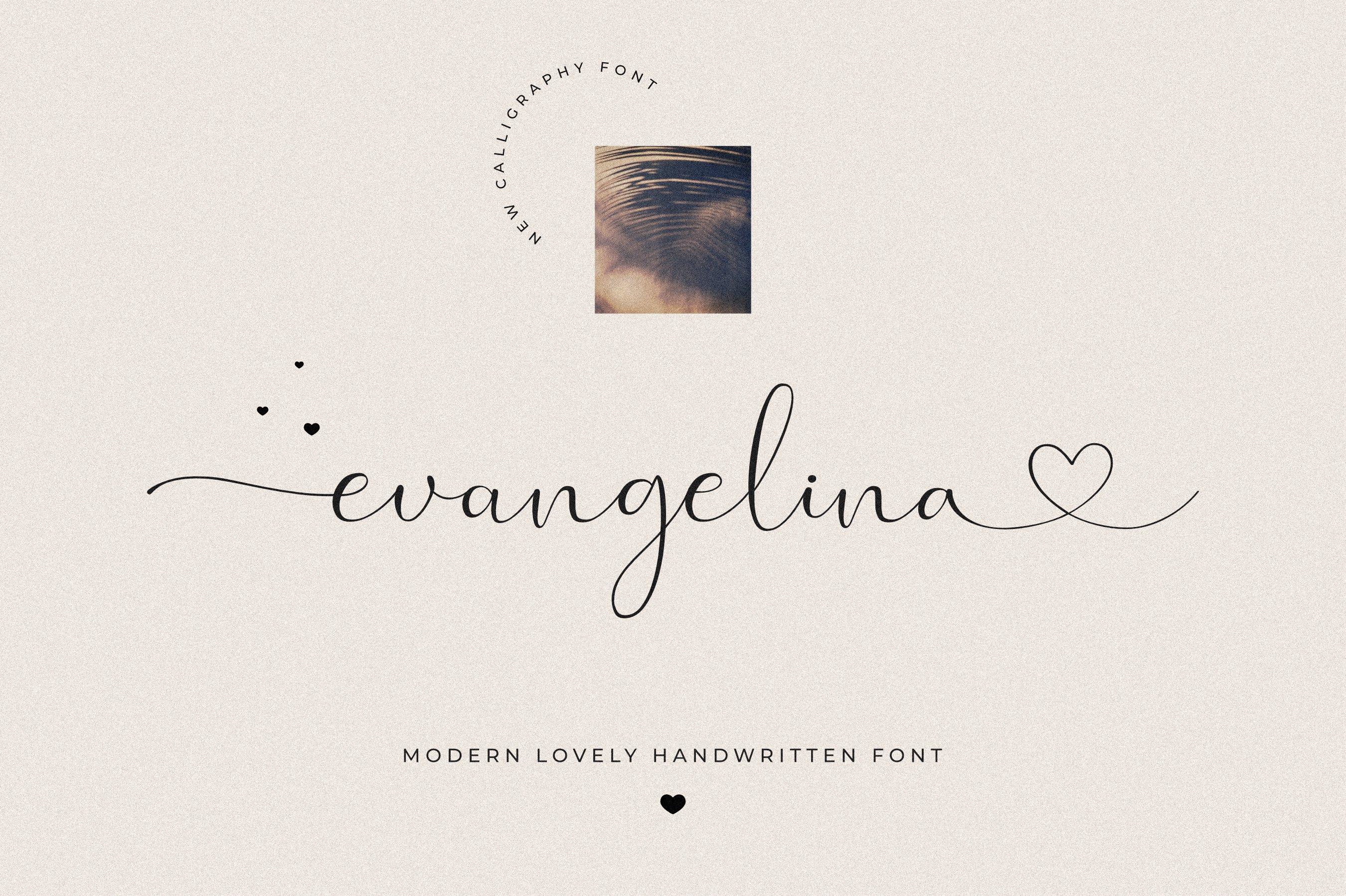 现代优雅品牌徽标Logo手写英文字体设计素材 Evangelina Font插图