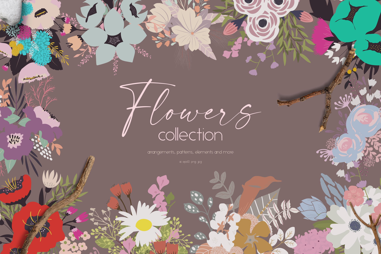 多彩花卉花圈手绘无缝隙矢量图案设计素材合集 Flowers Collection插图