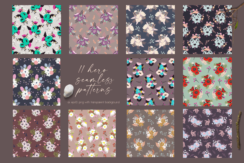 多彩花卉花圈手绘无缝隙矢量图案设计素材合集 Flowers Collection插图4