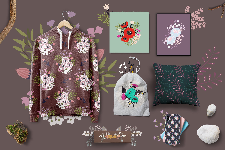 多彩花卉花圈手绘无缝隙矢量图案设计素材合集 Flowers Collection插图7