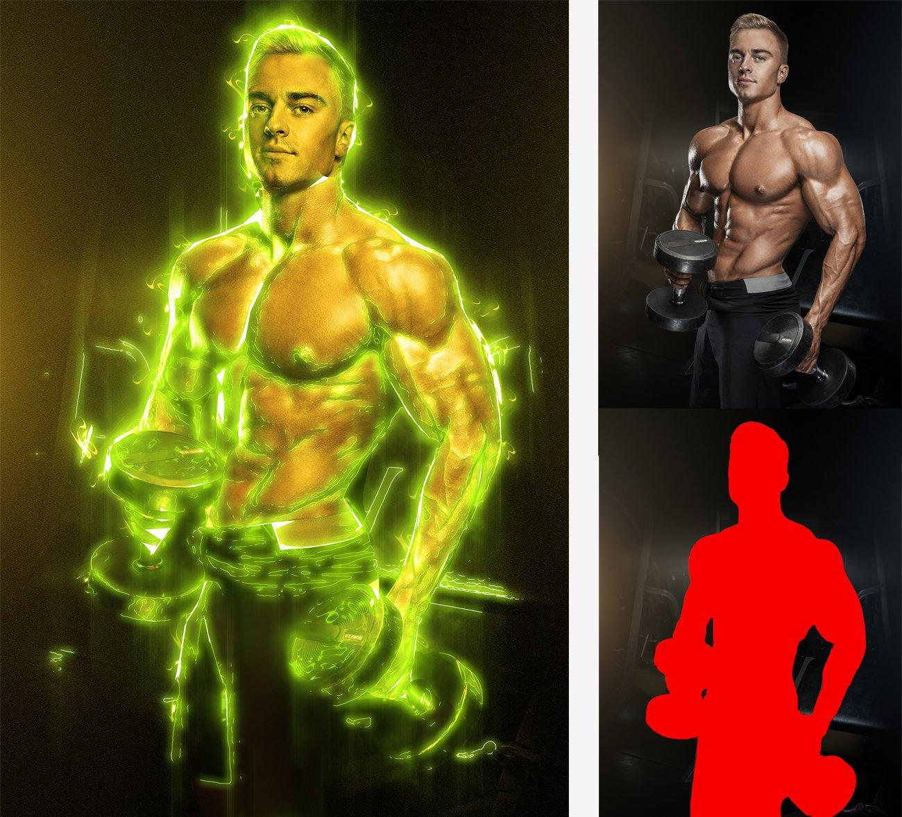 超炫能力发光效果照片处理特效PS动作素材 Light Photoshop Action插图3