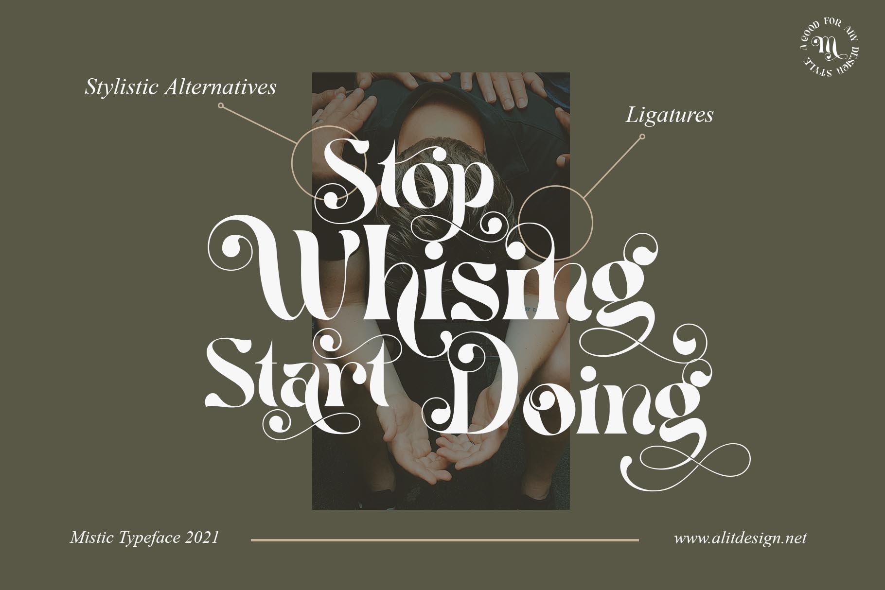 现代优雅杂志海报标题Logo设计衬线英文字体素材 Mistic Typeface插图5