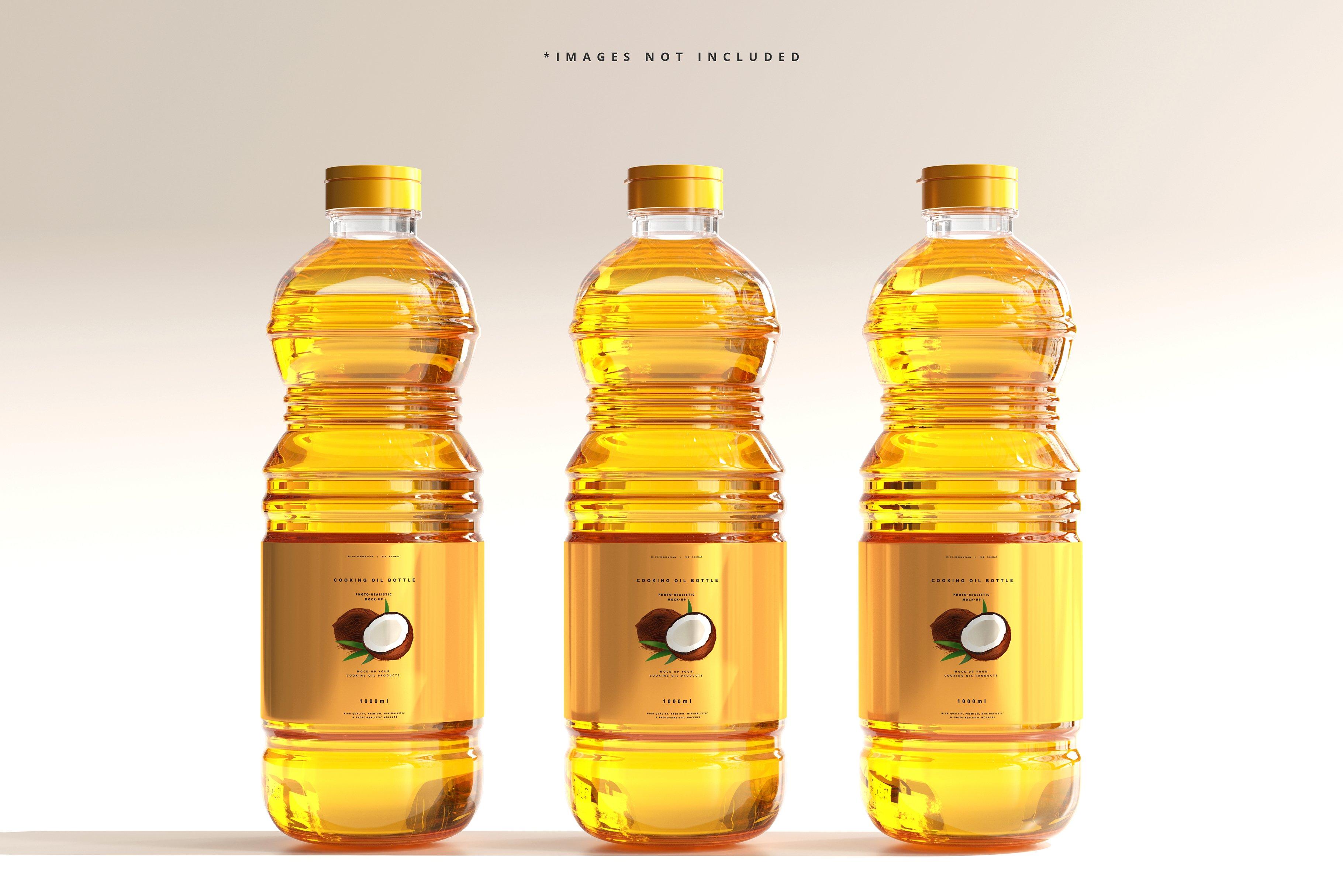 8款透明质感食用油塑料瓶设计展示贴图样机模板 Cooking Oil Bottle Mockup插图2