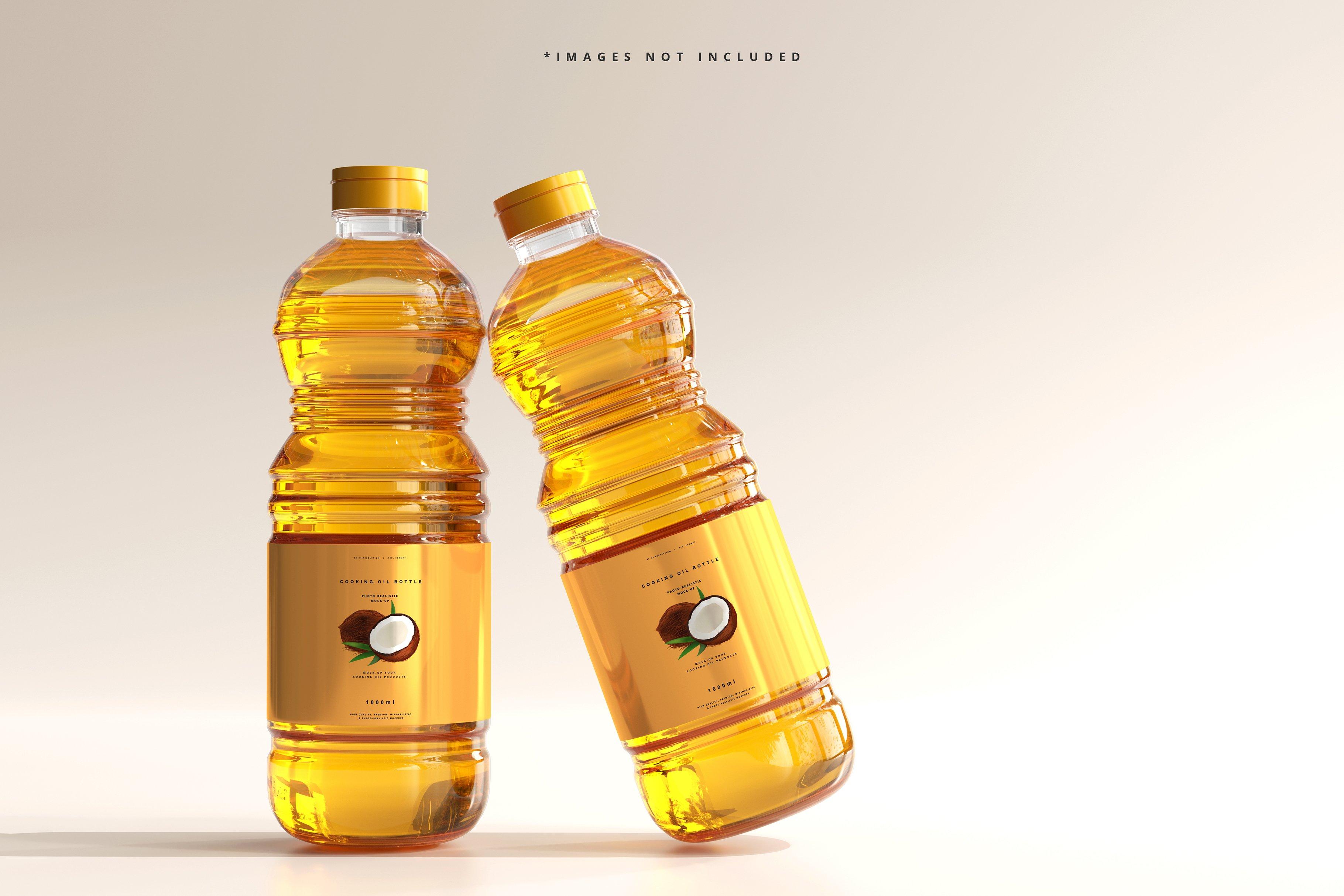 8款透明质感食用油塑料瓶设计展示贴图样机模板 Cooking Oil Bottle Mockup插图3