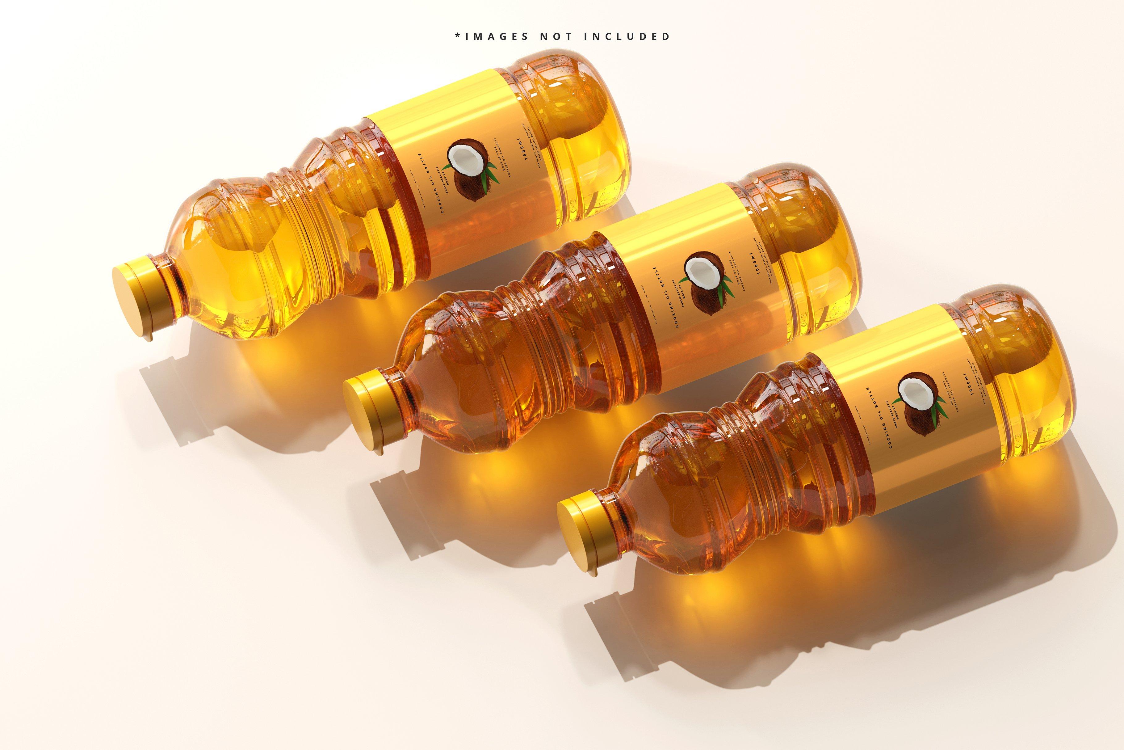 8款透明质感食用油塑料瓶设计展示贴图样机模板 Cooking Oil Bottle Mockup插图1