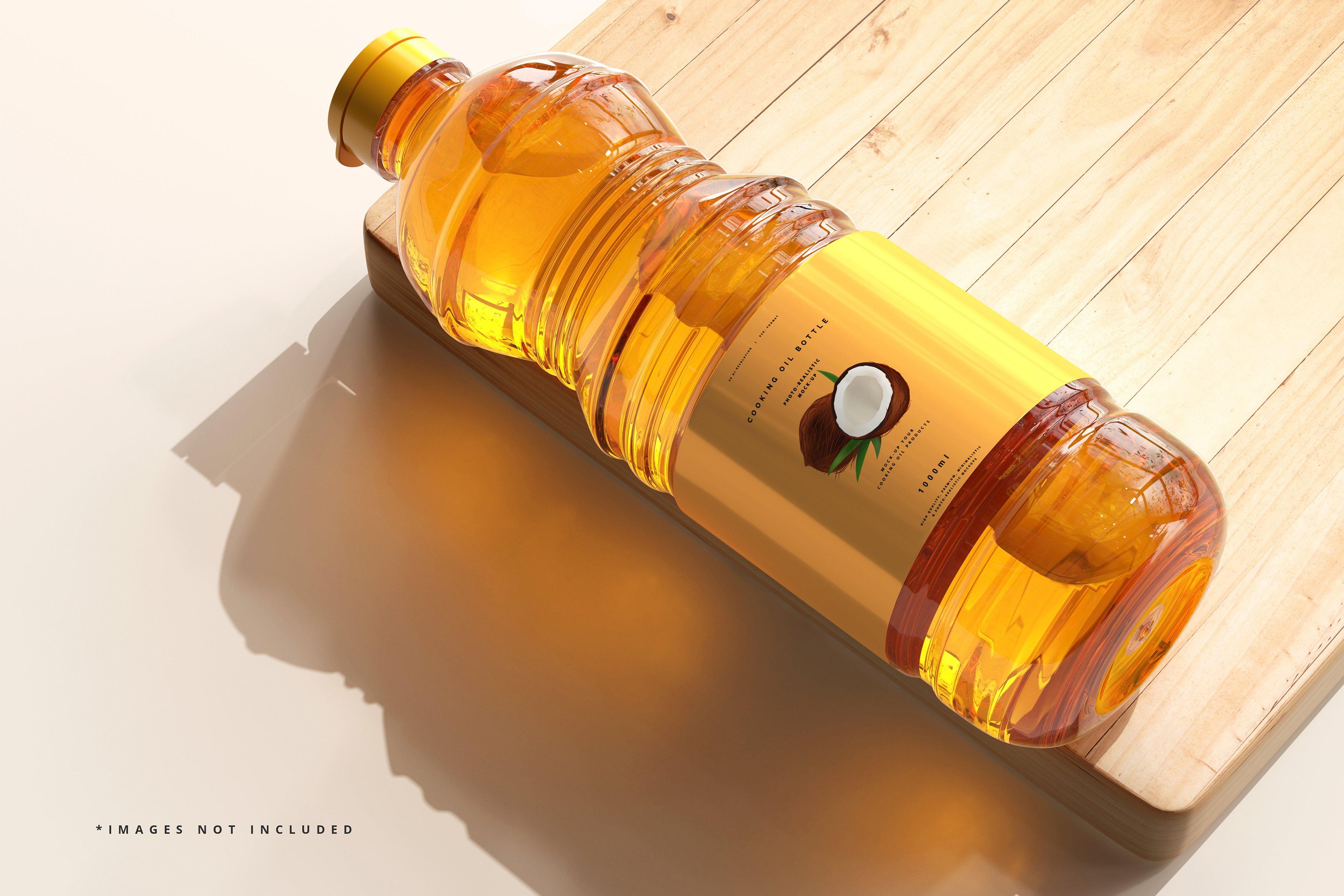 8款透明质感食用油塑料瓶设计展示贴图样机模板 Cooking Oil Bottle Mockup插图5