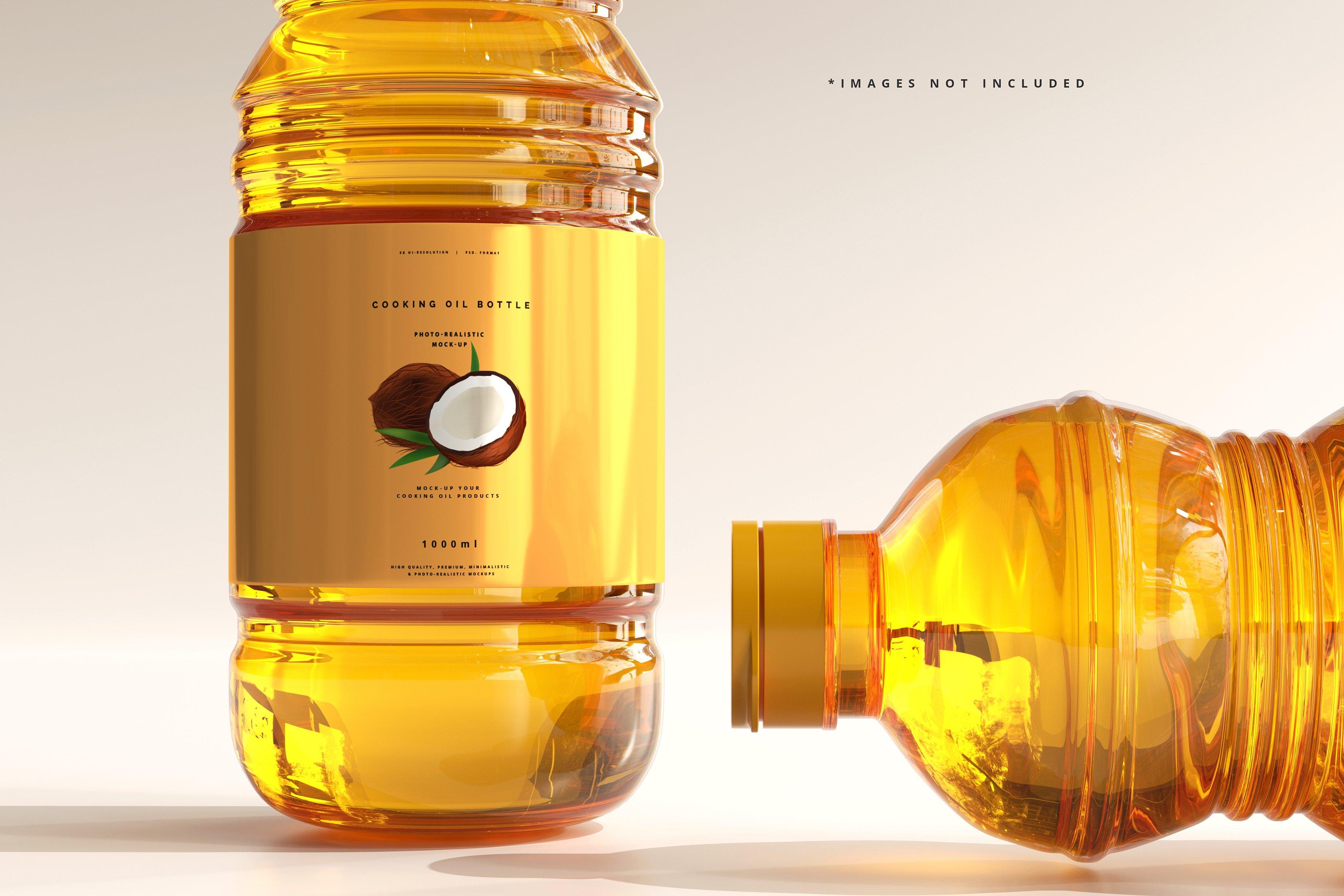 8款透明质感食用油塑料瓶设计展示贴图样机模板 Cooking Oil Bottle Mockup插图7