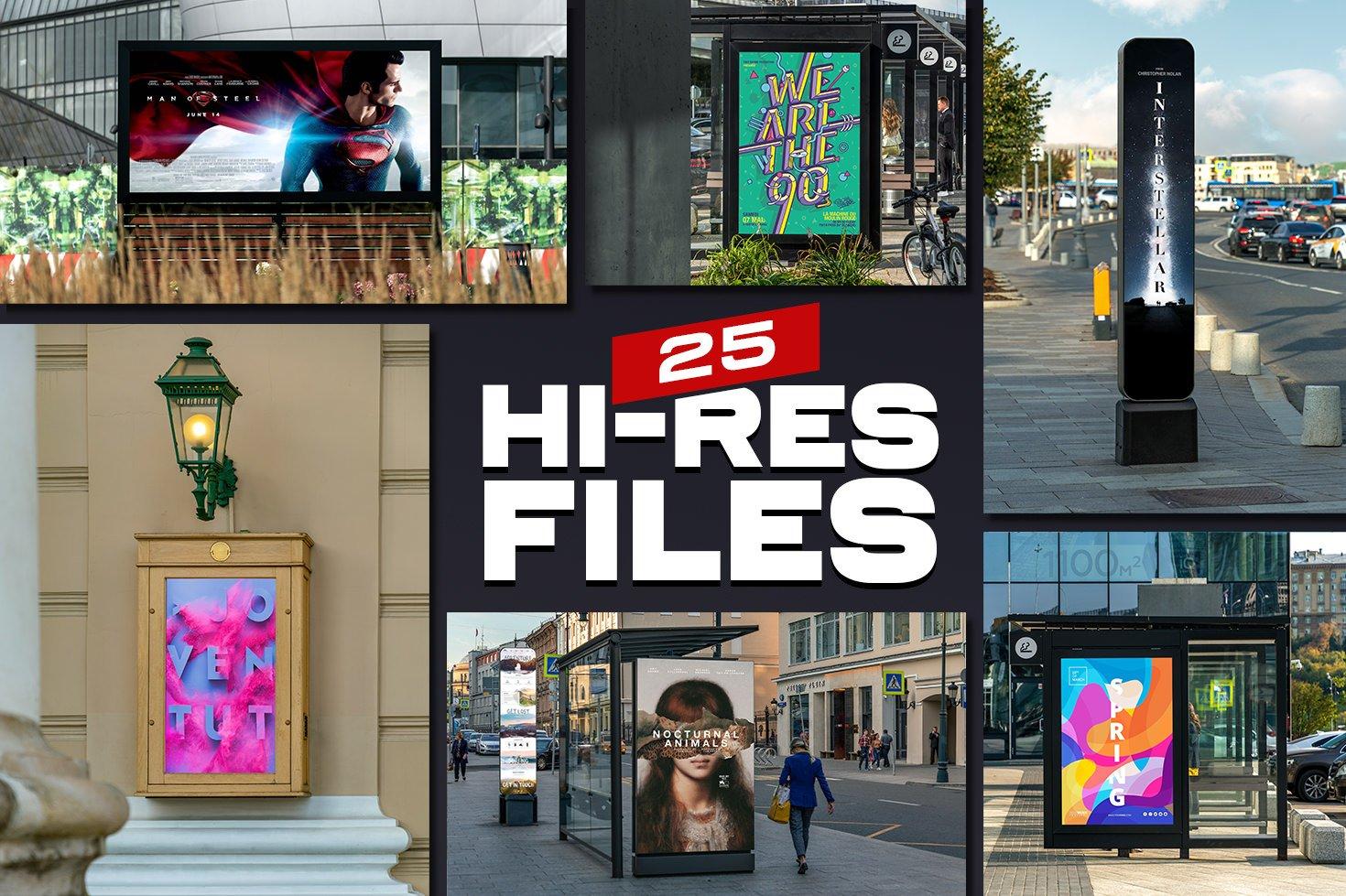 25款城市街头灯箱海报广告牌设计展示贴图样机模板 25 Street Billboards Mockups插图1