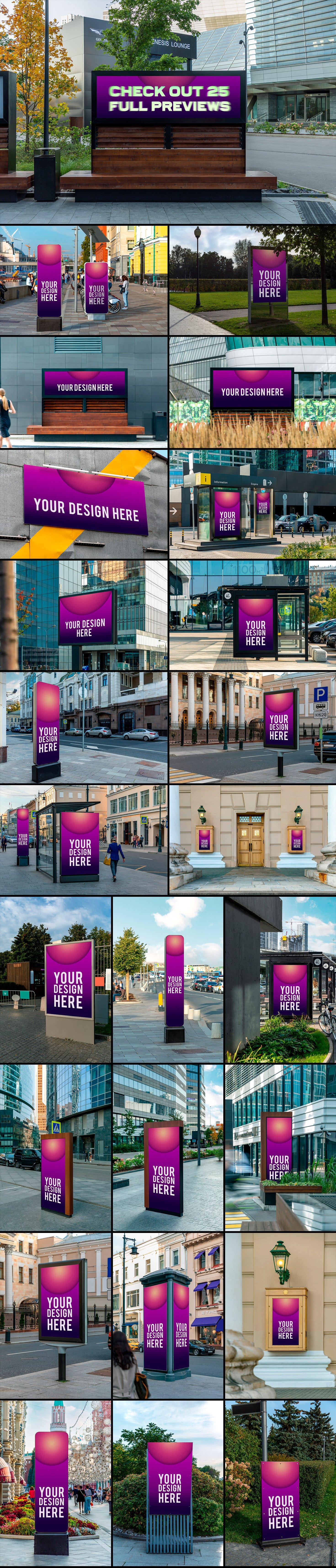 25款城市街头灯箱海报广告牌设计展示贴图样机模板 25 Street Billboards Mockups插图3